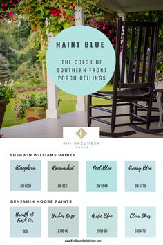 Blue Paint Colors, Paint Colors For Home, House Colors, Haint Blue Porch Ceiling, Light Blue Paints, Porch Paint, Blue Ceilings, Southern Porches, Porch Roof