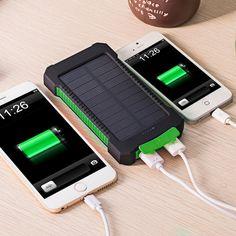 방수 10000 미리암페르하우어 은행 태양 전원 충전기 듀얼 USB 전원 은행 대한 iphone 6 plus 대한 samsung 전화