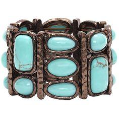 Monet Bracelet, Bronze Tone Turquoise Bead Stretch Bracelet (€52) ❤ liked on Polyvore featuring jewelry, bracelets, accessories, boho, turquoise, women, boho bracelet, bohemian bangles, bronze jewelry and boho chic jewelry