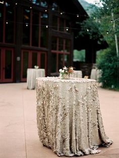 These high end Creme/Cream IVORY Sequin Tablecloths are ideal on the head or…