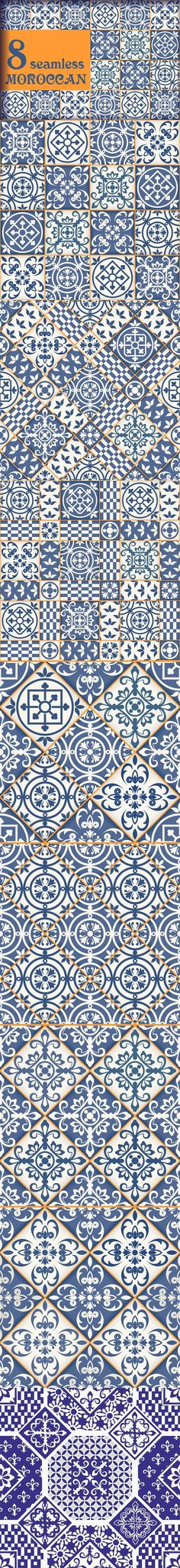 8 seamless Moroccan tile pattern. Patterns