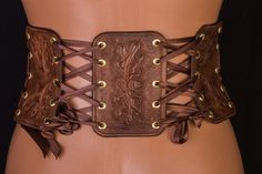 Leather Corset Medieval Gift for her Half Underbust Belt Leather Corset Belt, Wide Leather Belt, Leather Art, Leather Tooling, Leather Tops, Tooled Leather, Leather Belts, Body Corset, Victorian Costume