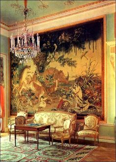 Drawing Room - 18th century Pavlovsk Palace, now a public museum and Park near Saint Petersburg, Russia.