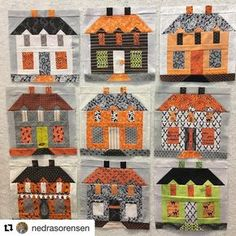 I love these haunted Farmhouse blocks soooo much!!!! Made by my friend Nedra:) #Repost @nedrasorensen (@get_repost) ・・・ I had a little Home Remodel on a few of the Windows, but now you can see all 9 houses together. They will have trees and other blocks added in between. Pattern: Farmhouse Lane from the book Farm Girl Vintage by Lori Holt. I chose to make mine all in Halloween Fabrics #farmhouseblock #farmgirlfridays #farmgirlvintagefever #farmhouselane #farmgirlvintage #loriholt #beei...