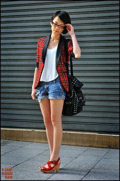 Plaid blazer + jean shorts