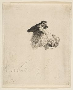 Rembrandt: Old Man Shading His Eyes with His Hand. Etching and Drypoint, ca. 1639
