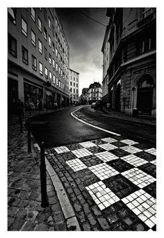 We love this of a street in Belgium in black and white. Great contrast and many interesting textures.