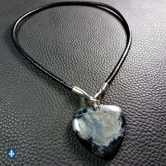 ♥ Natural Blackish Agate Pendant & Genuine Black Leather Plated Silver Necklace