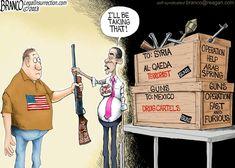 A.F.Branco Cartoon:  Obama Guns to Terrorists!  |  Follow conservative political cartoonist @Antonio Branco on Pinterest