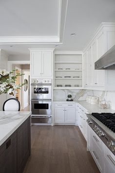 The Granite Gurus: Whiteout Wednesday: 5 White Kitchens with Calacatta Marble Countertops and Full Height Backsplashes