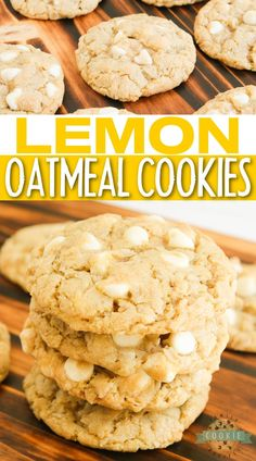 Lemon Oatmeal Cookies are soft, chewy and made with lemon pudding mix and white chocolate chips! Easy oatmeal cookie recipe with a ton of lemon flavor! Best Homemade Cookie Recipe, Favorite Cookie Recipe, Best Cookie Recipes, Homemade Cookies, Chocolate Desserts, Chocolate Chips, White Chocolate, Chocolate Chip Cookies, Cookies For Kids