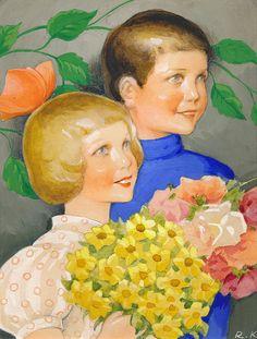 children in art history Vintage Book Art, Vintage Love, Vintage Prints, Old Paintings, Beautiful Paintings, Squirrel Girl, Spring Birds, Girls With Flowers, Children's Book Illustration