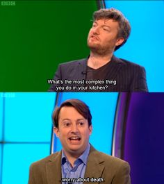David Mitchell & Charlie Brooker // Would I Lie To You  Lmao, I adore David Mitchell...& his scathing wit.