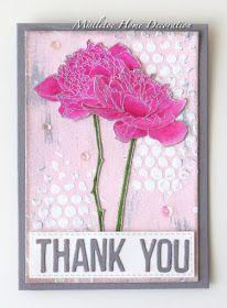 Thank you card with Tim Holtz Flower Garden stamp - Pink