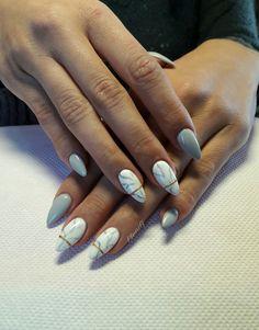 #acrylic #long #almond #nails #grey #white #nailart