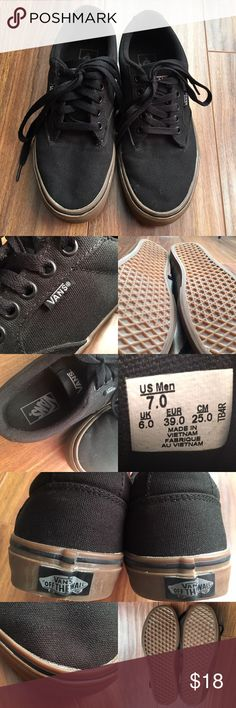 Vans Skate Shoes Vans black canvas skate shoes. Men's US 7, Women US 8.5. Barely broken in. Has a sticky residue inside on the tongue of the left shoe, as shown on fourth picture. Not really noticeable, also pictured. There's also white marks on both shoes I tried getting off, also pictured. Price reflects imperfection. Worn a few times. Good condition. Vans Shoes Sneakers