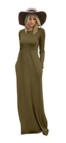 dc3a92901e Cheap Tabeez Women s Casual Long Babydoll Jersey Maxi Dress with Long  Sleeves (Large
