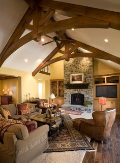 Warm relaxing great room with beautiful exposed beams Custom Home Designs, Custom Homes, Roof Design, House Design, Modern Rustic Decor, Home On The Range, Home Additions, House Roof, Log Homes