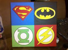 Justice League Symbols Canvas Painting Made to by LiveLaughPaint, $30.00