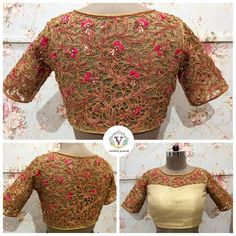 Cutwork embroidery forever in style. Beautiful bridal designer blouse with floret lata design hand embroidery cut work. 20 April 2018