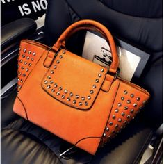 Women Fashion Zipper Design Rivets Decorated Brown PU Clutches Bag