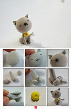 cat polymer clay tutorial by Tammy Doziercat polymer clay tutorial - I could make all our boys!Super cute cat made out of fimo clay Polymer Clay Animals, Fimo Clay, Polymer Clay Projects, Polymer Clay Charms, Polymer Clay Creations, Polymer Clay Art, Clay Cats, Cute Clay, Clay Figures