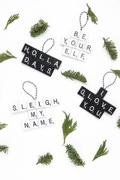 If there's one thing I love, it's a good pun. I'm sharing my love for puns by showing you how to make these DIY Punny Scrabble Ornaments. Scrabble Ornaments Diy, Letter Ornaments, Christmas Ornaments To Make, Christmas Mood, Homemade Christmas, Christmas Decorations, Diy Ornaments, Christmas Stuff, Funny Christmas
