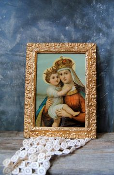 Vintage Gold Frame with Mary and Baby Jesus Print: Vintage Wood and Plaster Frame Madonna and Christ Child by Untried on Etsy