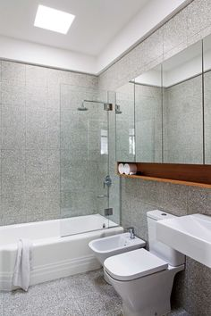 Baño revestido en mosaico granítico con fondo cemento natural y piedra blanca.