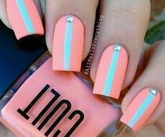 #love #tropical #coral #seafoam #nailart #manicure