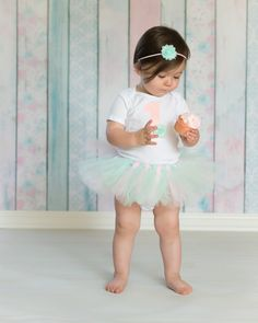 Mint and Light Pink First Birthday Outfit - Tutu, Shabby Chic Headband & Bodysuit - Baby Girl 1st Birthday Outfit on Etsy, $35.00