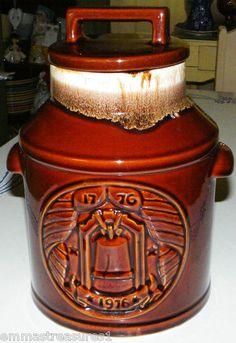 Vintage McCoy Large Brown Cream Drip Glaze Pottery '76 Cookie Jar 154 Americana | eBay