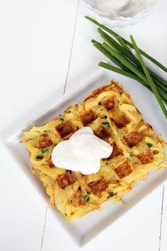 Savory Parsnip Noodle Chive Waffles (Parsnaffles) by @inspiralized #paleo