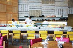 Zuma Restaurant in Miami is Pure Heaven Kitchen Design Open, Open Kitchen, Miami Restaurants, Pool Bar, Restaurant Kitchen, Oriental, Pure Products, Dining, Modern