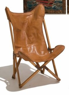 Vittoriano Vigano; Oak, Leather and Iron 'Tripoline' Chair, c1936.