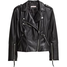 H&M+ Biker Jacket $59.99 (1,140 MXN) ❤ liked on Polyvore featuring outerwear, jackets, coats & jackets, quilted jacket, moto jacket, vegan leather moto jacket, faux leather moto jacket and biker jacket
