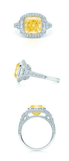 Tiffany & Co. Gatsby Collection Vivid Yellow Diamond Ring   Anyone have $385,000 to spare to get me this baby for my birthday?