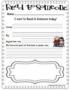 FREE read to someone accountability sheet for little learners.