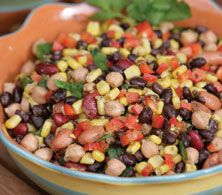 Southwest Bean Salad - Everyday Style Recipe (maybe add chili pepper) My Recipes, Favorite Recipes, Healthy Recipes, Recipies, Bean Salad, Grubs, Dinner Menu, Healthy Options, Everyday Fashion