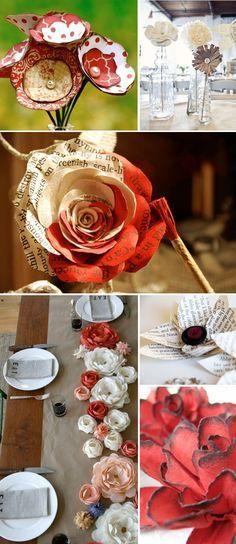 Flores em papel - como ficam belas!Aproveitemos nossos papéis descartáveis!