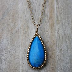 Large Gemma Necklace - Howlite Turquoise