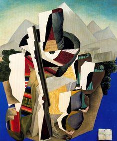 "drawpaintprint: ""Diego Rivera: Zapatista Landscape (The Guerrilla). Oil on canvas, x Museo Nacional de Arte, INBA, Mexico City. Diego Rivera Art, Diego Rivera Frida Kahlo, Frida And Diego, Cubist Paintings, Mural Painting, Cubism Art, Landscape Paintings, Landscapes, Georges Braque"