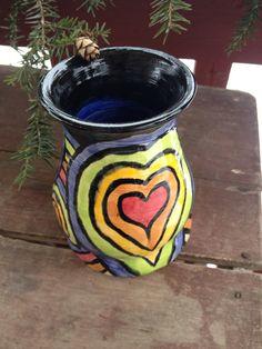 Handpainted Rainbow Design Ceramic Vase by DawnDavareDesigns, $17.00