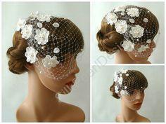 Blusher Veil with Flowers  Bridal Birdcage Veil by SilkPearlDesign