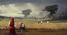 Jakub Rozalski's Concept Art Features Giant Robots in 1920's War Scenes and Rural Landscapes