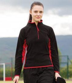 Finden & Hales Ladies Zip Neck Contrast Lightweight Micro Fleece