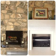 I've heard a lot of complaints about 1960s river rock fireplaces- it's a whole lot of rock with no defining mantle hearth etc. This is a recent solution that we came up using @dektonbycosentino We  think it did the trick and it no longer looks blah.