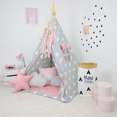 Teepee Set Kids Play Teepee Tent Tipi Kid Playhouse Wigwam Zelt Tente- In My Imagination by MamaPotrafi on Etsy