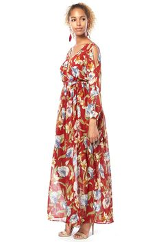 f80c913582bf Contemporary Floral Mesh Maxi Dress