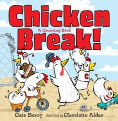 Illustrations and easy-to-read, rhyming text invite the reader to count chickens, from one standing guard to ten drooping and dragging their way back to the coop after breaking out for a night of fun.